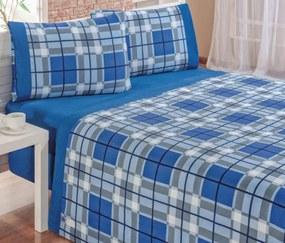 Roupa de Cama Casal Padrão Veneza 150 Fios Kit 04 Peças - Azul