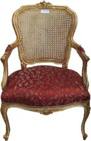 Poltrona Clássica Luis XV Vermelha Folheada a Ouro
