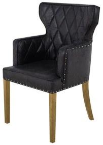 Cadeira de Jantar Estofada Matelassê com Tachas  - Wood Prime PP 33297