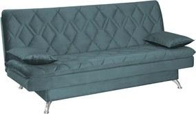 Sofá Cama Sala de Estar 193cm Belinda com Pés Alumínio Veludo Azul Tiffany - Gran Belo