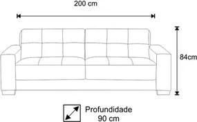Sofá Ventura 200cm 2 Assentos 3 Lugares Suede Animale Preto - D'Monegatto