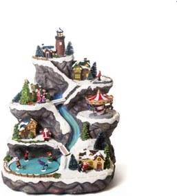 Cenário Natal Com Movimento Iluminação Montanha Miniaturas
