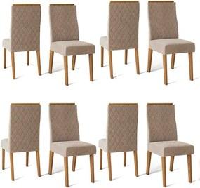 Conjunto 8 Cadeiras Cássia Carvalho Nobre Tecido Veludo Kraft