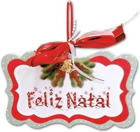 Placa Móbile Grande Feliz Natal Vermelho e Branco em MDF - 30x20 cm
