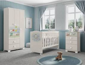 Quarto de Bebê Completo Ursinho nas Nuvens - Off White