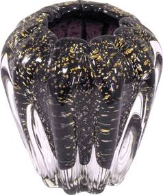 Vaso Decorativo em Murano Roxo com Detalhes em Dourado - 11x12x11cm