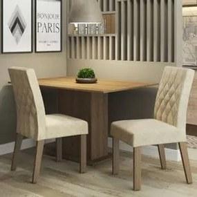Conjunto Sala de Jantar Madesa Lia Mesa Tampo de Madeira com 2 Cadeiras Rustic/Imperial Cor:Rustic/Imperial