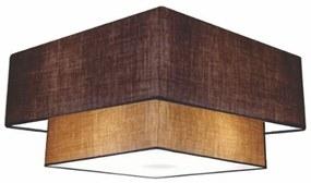 Plafon Duplo Quadrado Md-3018 Cúpula em Tecido 25/70x50cm Café / Palha - Bivolt