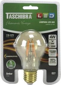 Lâmpada de Led A60 Filamento Vintage Dimerizável 4W Âmbar E27 - Taschibra - 127V
