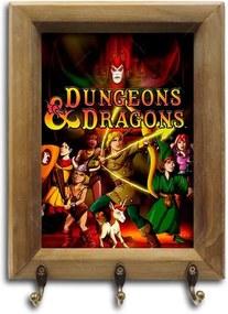 Porta-Chaves Dungeons and Dragons com Moldura em Madeira
