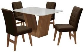 Conjunto Mesa de Jantar Safira com 04 Cadeiras Agata 135cm Cedro/Branco Off/Chocolate - ADJ DECOR
