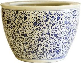 Cachepot em Porcelana Floral Arabesco Azul e Branco D41cm x A28cm