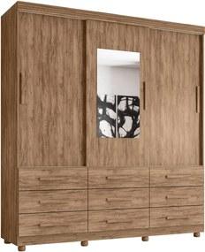 Guarda Roupa Ascoli 3 portas c/ espelho 9 gavetas Carvalho Moveis Lanza
