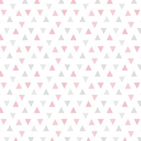 Papel de Parede Adesivo Triângulos Rosa e Cinza 2,70x0,57m