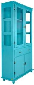 Cristaleira Fechada com Pés Torneados Azul - Wood Prime PTE 38420