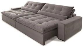 Sofá 5 Lugares Retrátil e Reclinável - Confortable Suede Bege
