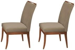 Conjunto 2 Cadeiras Sala de Jantar Lana Aveludado Nude