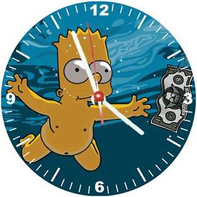 Relógio Decorativo Simpsons Bart Nevermind