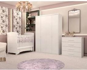 Quarto de Bebê Completo Serena Mel - Branco Fosco