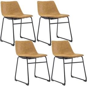 Kit 04 Cadeiras Decorativa Sala de Estar Recepção Fixa Maia PU Caramelo - Gran Belo