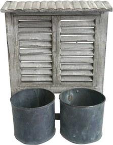 Janela Decorativa Com 2 Vasos De Metal