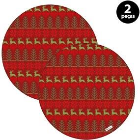 Capa para Sousplat Mdecore Natal Renas Vermelho2pçs