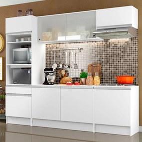 Cozinha Completa Madesa Topazio com Armário, Balcão de Pia e Tampo Branco Cor:Branco