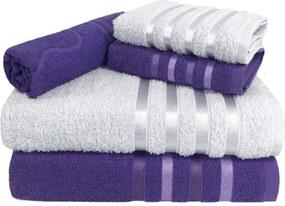 Jogo de Toalha 5 Peças kit de toalhas 2 banho 2 rosto 1 piso Lilás e Branca