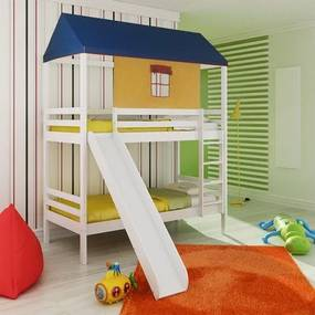 Beliche infantil Teen Play Escorregador, Telhado Completo - Madeira Maciça Branco Lavado - Casatema