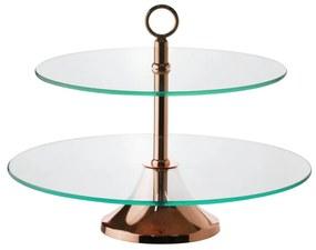 Prato Para Doces Duplo Vidro Mônaco Com Base Rosé 33/40cm 87230wolff
