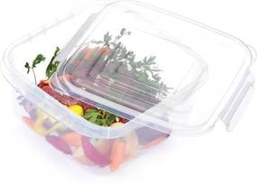 Pote Plástico Microondas Freezer Quadrado Com Trava GG 3,7 L