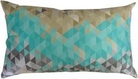 Capa almofada LYON Veludo estampado Triângulos Turquesa 30x50cm