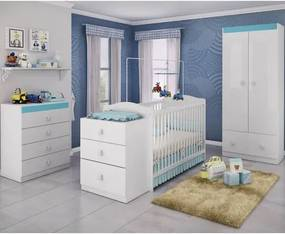 Quarto de Bebê Completo Sabrina 3 em 1 - Branco/Azul