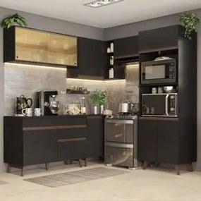 Cozinha Completa de Canto Madesa Reims 402002 com Armário e Balcão Preto Cor:Preto
