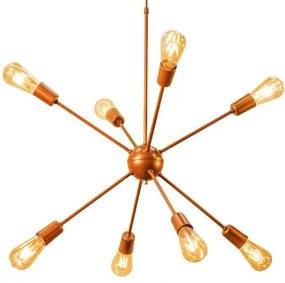Luminária Sputnik Atomo Industrial 8 hastes Soq: E27 | Cor: Cobre | Tam: 80cm | Mod: Sputnik Atomo