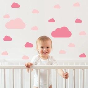 Adesivo de Parede Infantil Nuvens Tons de Rosa