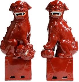 Par de Leões Chineses em Porcelana Vermelho 45 cm