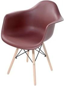 Cadeira Arm com Braco Marrom Fosco Base Madeira Clara - 51955 Sun House