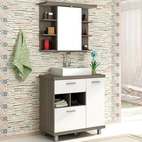 Kit Banheiro Gabinete 80cm Cuba e Armário com Espelho Lótus Arpoador/Branco - Bosi