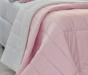 Cobre Leito Casal King Laviê Dupla Face 05 Peças - Rosa / Branco