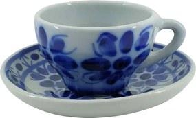Xícara de Chá com Pires em Porcelana Azul Colonial 120 ml