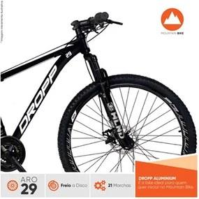 Bicicleta Aro 29 Quadro 19 Alumínio 21 Marchas Freio a Disco Mecânico Color Preto/Branco - Dropp