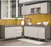 Cozinha Completa Modulada Malbec Avelã 08 Peças 7700 PT Móveis