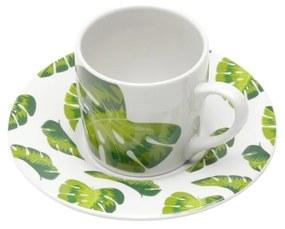 Jogo Xícaras Para Café Porcelana Folhas 6 Peças 90ml 17329 Bon Gourmet