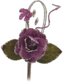 Mini Flor DecoraçÁo Natalina 7 Cm Cor Roxo Plástico 1 Peça