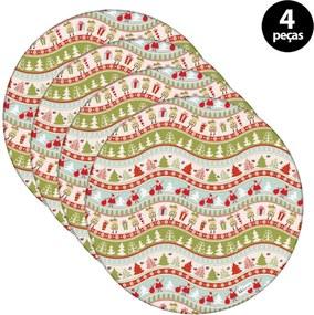 Capa para Sousplat Mdecore Natal Papai Noel Verde 4pçs