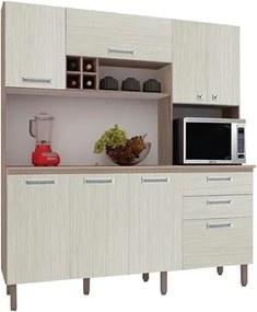 Cozinha Compacta Esmeralda com Tampo 8 Portas Nogal/Arena - Kit's Paraná