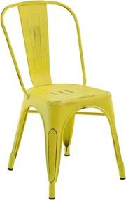 Cadeira Iron Sem Braço Vintage Amarela Rivatti
