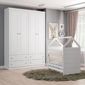 Quarto de Bebê Americano Berço Mini Cama e Guarda Roupa - Branco