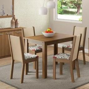 Sala de Jantar Cíntia Mesa com 4 Cadeiras - Rústico/ Crema/ Hibiscos